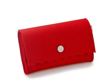 Evening bag clutch wallet Red 100% merino wool felt with push button