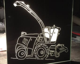 "Wall mirror handcrafted engraving ""Harvester"""