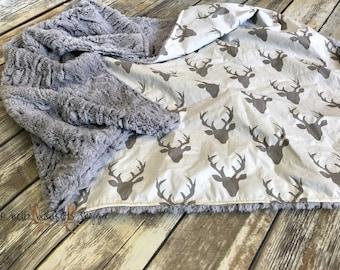 Deer Baby Blanket- Deer Minky Blanket- Deer head Blanket- Baby Boy Blanket- Woodland Blanket- Baby Blanket- Minky Baby Blanket