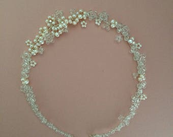 Freshwater Pearl Bridal Headpiece, Bridal Hair Vine, Silver Hair Vine, Bridal Halo
