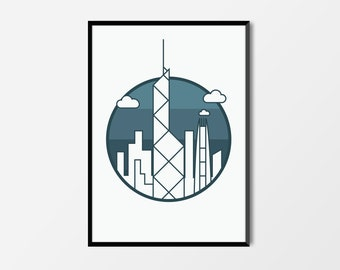 Hong Kong Print, Bank of China Tower | Hong Kong Artwork | Hong Kong Illustration | Architecture Print | City Print | Bank of China Print