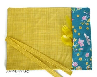 Practical placemat with utensils holder pouch - flowers, DRAGONFLIES and BUTTERFLIES, turquoise and mustard yellow