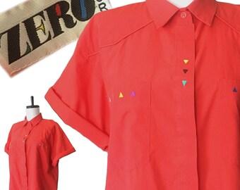 Vintage 80s Red Boxy Southwestern Embroidered Shirt — Medium