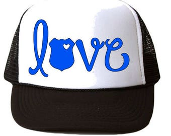 Police Wife Hat, Love Police Hat, Police Girlfriend Hat, Police mom hat