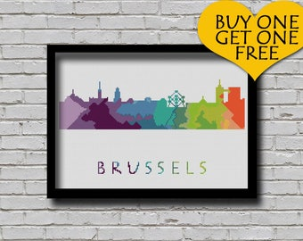Cross Stitch Pattern Brussels Belgium Silhouette Watercolor Painting Effect Europe Cities Modern Design Embroidery City Skyline Xstitch