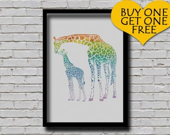Cross Stitch Pattern Giraffe Animal Portrait Mother and Baby Giraffe Printable Digital Pattern Rainbow Color Mom & Baby Art Pattern