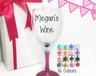 Wine glasses personalised, unique gifts for sisters, glitter glasses, glitter gifts, glitter wine glasses, personalised gift for her