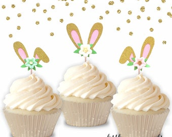 10 pcs Flowers Bunny Ear Cupcake Topper Gold Glitter for Birthday Baby Girl Some Bunny is One theme