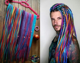 Set of wool DE dreads rainbow double ended dreadlocks by Alice Dreads
