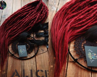 Burgundy long crochet synthetic double ended DE dreads natural dreadlocks with loose tips full head hair extensions