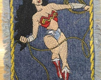 Embroidered Frayed Edge Wonder Woman Jean Patch