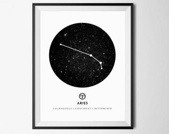 Aries Constellation Print, Zodiac Constellation, Aries Zodiac, Astrology Print Art, Aries Print, Astrology Gift Art, Zodiac Print, Aries Art