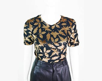Vintage short sleeve shirt with leaves motif