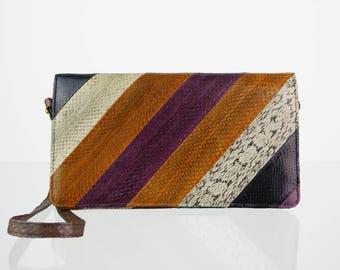 Genuine leather vintage shoulder bag multicolor