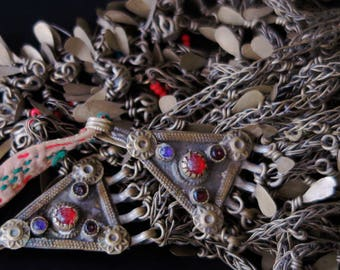 AFGHAN HAIR JEWELRY - Long Kuchi Tribal Jewelry Hair Pendants Pair