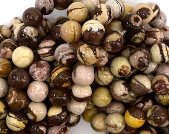 "10mm brown zebra jasper round beads 15.5"" strand 38974"