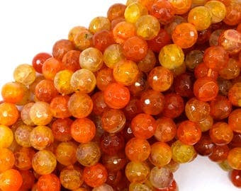 "10mm faceted agate round beads 15"" strand orange 38866"