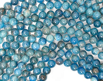 "6mm natural blue apatite round beads 15.5"" strand S3 38439"