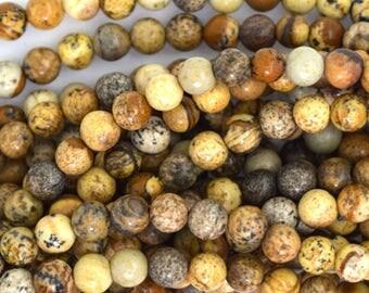 "4.5 - 5mm picture jasper round beads 15.5"" strand 35593"