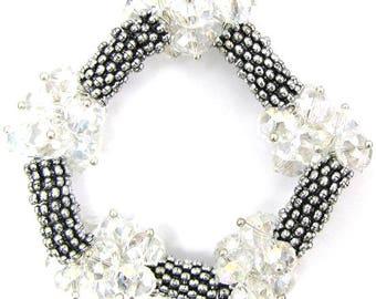 "Crystal silver plated daisy stretch bracelet 7"" crystal 11919"