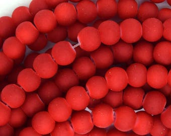 """6mm frost matte glass round beads 15"""" strand red 35996"""