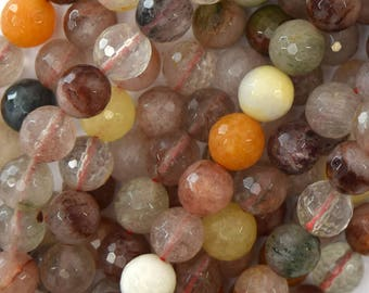 "8mm faceted multicolor rutilated quartz round beads 15.5"" strand 39590"