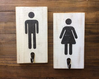 His And Hers Towel Hooks, Men Women Bathroom Sign, Men Women Restroom Sign,