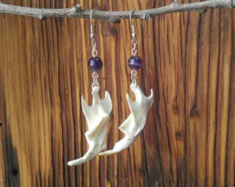 Muskrat Jaw Bone Earrings, Fish Hook, Amethyst Bead, Vulture Culture, Taxidermy Jewelry, Animal Bone, Burning Man, Oddities & Curiosities