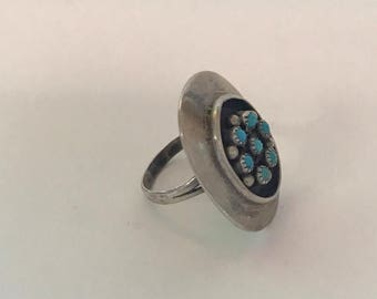 FLASH SALE Vintage Native American Turquoise Sterling Silver Ring-- American Indian-- Navajo Ring-- Size 8 Small