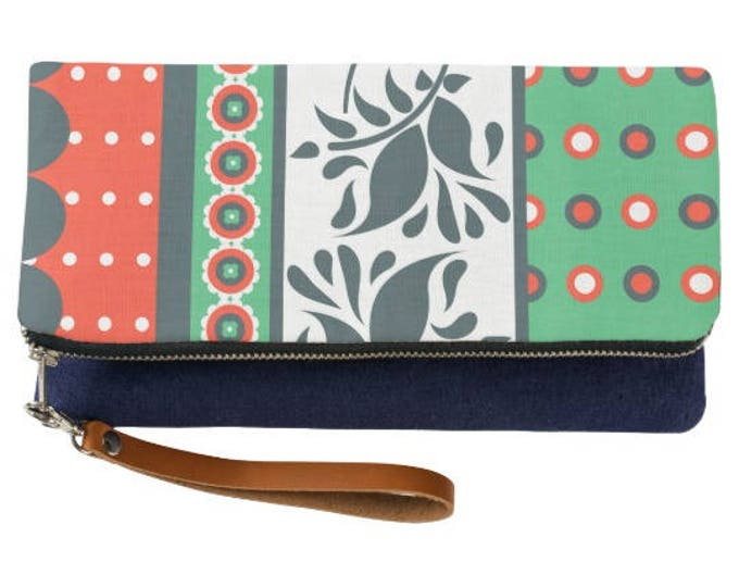 Bold Indie Pattern Fold Over Indigo Clutch