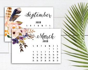 Landscape Calendar 2018, Printable Calendar, Floral Calendar 2018, Christmas Gift, Floral Desktop Calendar, 2018 Wall Calendar, Printable
