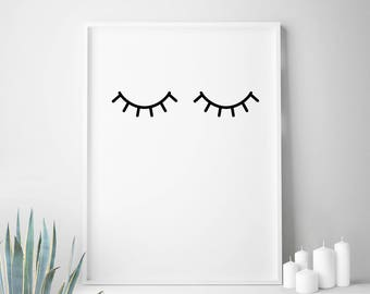 Black white, affiche scandinave, eyes, prints, minimalist, print, eyelash, printable, eyelashes, modernist, Scandinavian, minimalist nursery