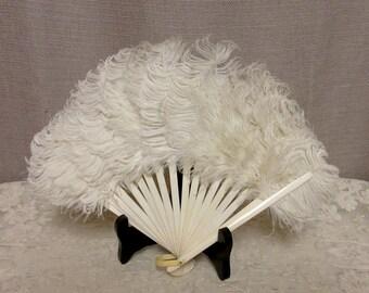 Victorian Feather Fan;Vintage White Feather Fan, c1880s