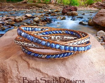 "Blue Beaded Bracelet-3 Wrap Leather Bracelet-Sodalite Beads-Silver Chain-Magnet Clasp-Size 7""-Custom Sizes-The Serpentine Wrap in Sodalitel"