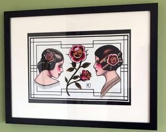 Tattoo Flash fine art print Pretty Rose Ladies A4