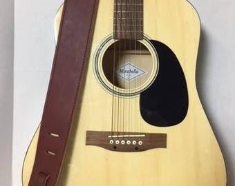 Guitar strap - Crimson cowhide