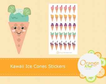 Kawaii Ice Cones Stickers, Snow Cone Stickers, Ice Cream Cone Stickers, Planner Stickers