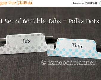 50% OFF SALE 1 Set of 66 Bible Tabs - Polka Dots | Bible Journal | Scripture Dividers | Bible Tabs | Bible Journaling