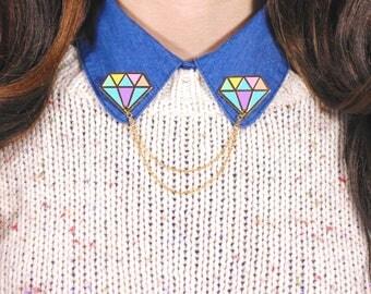 Rainbow Diamond Enamel Collar Pins, Collar Brooch, Collar Chain, gift for her, gift for boss, birthday gift, Jazzelli Designs