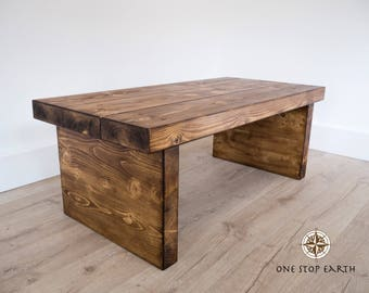 Chunky Rustic Solid Dark Oak Pine Wood Beam Plank Coffee Table Large 120cm