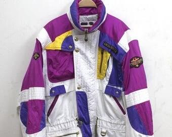 Mega Sale 20% Descente Ski Jacket Vintage Descente Multicolor Jacket Hooded Ski Jacket Full Print Jacket sz