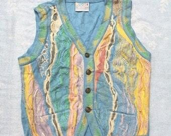 COOGI Australia Sweater Mens M Cotton, Authentic Coogi Sweater, Hipster Textured Colorful Multi 3D Stripe Sweater Vest sz Xs