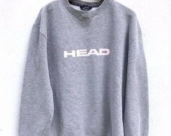 20% OFF Vintage Head 90's Big Logo Sweatshirt Pullover Jumper Hiphop Swag Spellout Jacket Streetwear fit sz S
