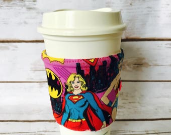 Coffee Cup Cozy, Wonder Woman Reusable Coffee Sleeve, Supergirl Tea Cup Cozy, Personalized Gift, Bat Girl Custom Cup Sleeve, Eco Friendly