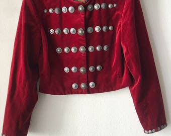 Superior Short Retro Style Red Jacket Women's Size Extra Small.