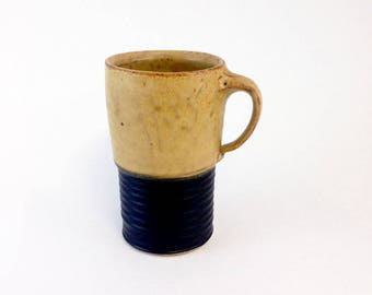 Handmade Ceramic Travel Mug, Pottery Travel Mug, Yellow and Black