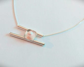 Silver.925 with natural Pearl Necklace / Sterling silver necklace with natural pearl