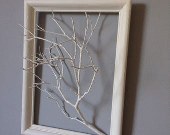 Tree branch in three dimensional and bleached frame