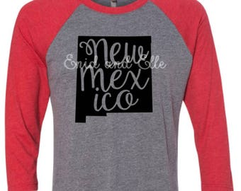 New Mexico t-shirt - New Mexico state shirt - New Mexico home t-shirt - home shirt - New Mexico baseball shirt - New Mexico raglan shirt