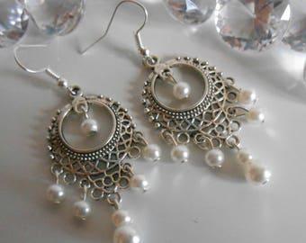 Gypsy dangle earrings white pearls